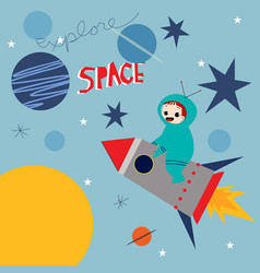 cute astronaut boy cartoon vector image