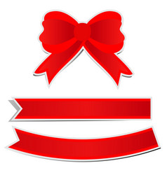 cute red bow on white background vector image