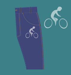 Cyclist pattern on fabric vector