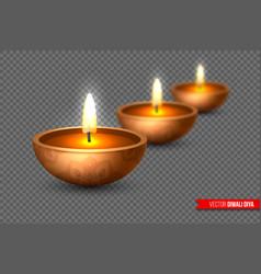 diwali diya - oil lamp elements for traditional vector image