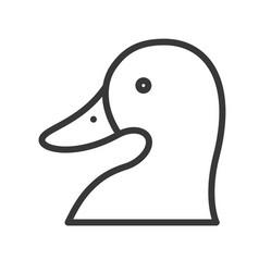 Duck head farm animal line style editable stroke vector
