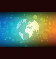 Earth globe abstract bokeh color background vector