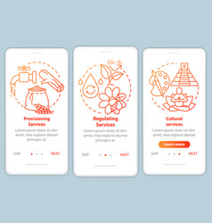 Ecosystem services red onboarding mobile app page vector