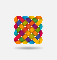 endless knot abstract symbol in rainbow colors vector image