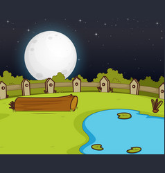 Farm scene with swamp and big moon at night vector