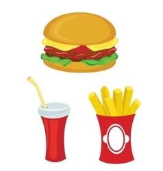 Fast food set Hamburger fries drink vector