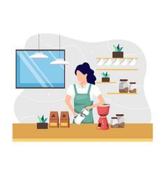 Female barista making coffee vector