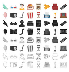 Films and cinema set icons in cartoon style big vector