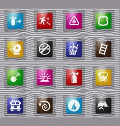 Fire-brigade glass icon set vector