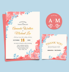 Floral wedding invitation elegant thank you card vector