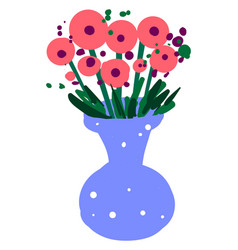 flowers in blue vase on white background vector image