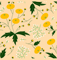 Folk art style dandelion seamless pattern vector