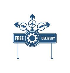 free delivery emblem design vector image