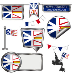 Glossy icons with flag province newfoundland vector