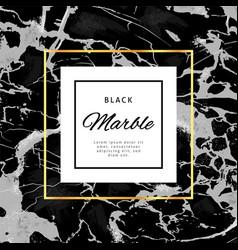 gold frame banner on black marble background vector image