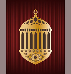 golden festive lantern ramadan kareem vector image