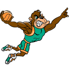 Gorilla sports basketball logo mascot vector