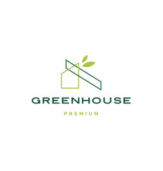 green house leaf rologo icon vector image