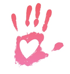 Handprint heart vector