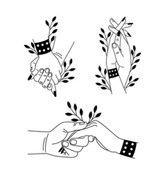 Hands togetherness set cartoon romantic touch vector