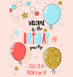 happy birthday party card hand drawn modern vector image