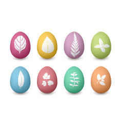 happy easter colored eggs with herbal silhouettes vector image