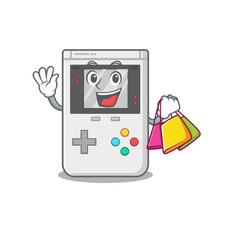 Happy face handheld game scroll mascot style vector