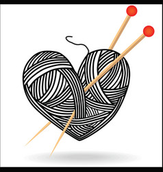 Heart wool knitting needle isolates hobby vector