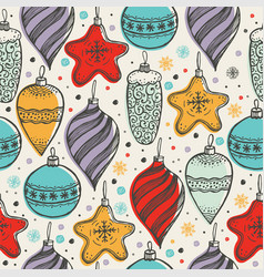 hristmas seamless pattern with toys vector image
