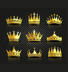 Isolated golden color crowns logo collection on vector