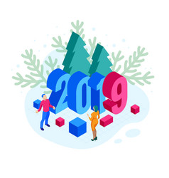isometric 2019 christmas or new year background vector image