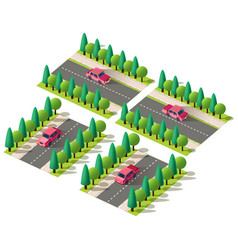 isometric set red car vector image