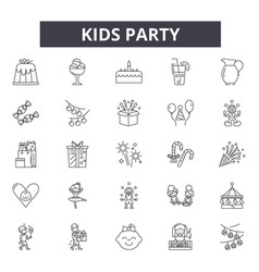kids party line icons signs set outline vector image