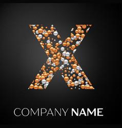 Letter x logo gold-silver dots alphabet logotype vector