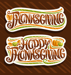 logos for thanksgiving day vector image