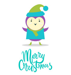 merry christmas greeting card small purple bird vector image