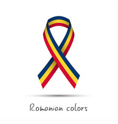 modern colored ribbon with the romanian tricolor vector image
