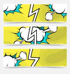 modern pop art style divided header set vector image