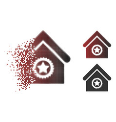 moving pixel halftone excellent building icon vector image