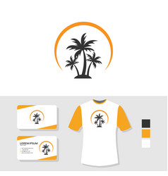 Palm tree logo design with business card and t vector