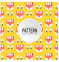 pattern eye mouth cartoon yellow background vector image