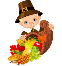 Pilgrim with cornucopia vector
