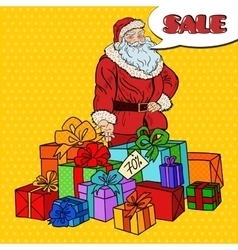 Pop Art Santa Claus with Christmas Gifts vector