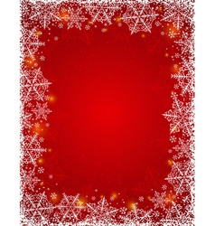 Red background with frame of snowflakes vector image