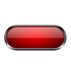 Red glass button oval 3d shiny icon with metal vector