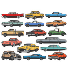 retro cars vintage rarity motor vehicles vector image