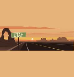 Road trip utah sign and landmarks vector