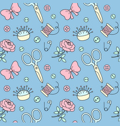 Seamless pattern with hand drawn sewing doodle vector