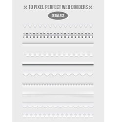 Seamless web page dividers with shadows vector image