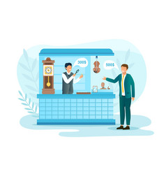 Seller buyer negotiate about price in pawnshop vector